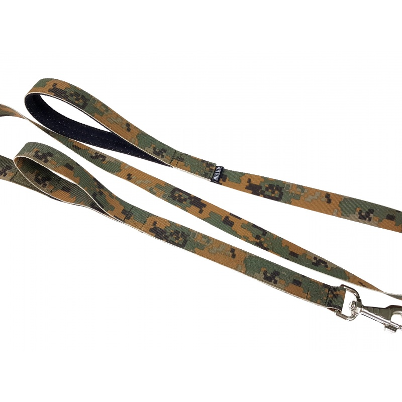 Woodland leash double handle 1.65m hook silver