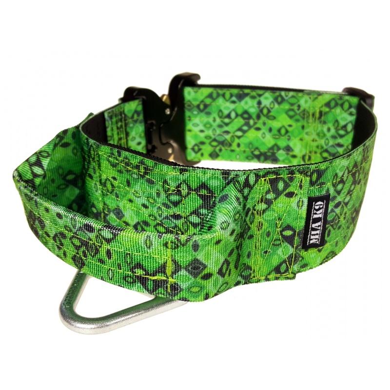 Tactical Dog Collar, Jade Mosaic, 50mm/2inch wide, Cobra buckle