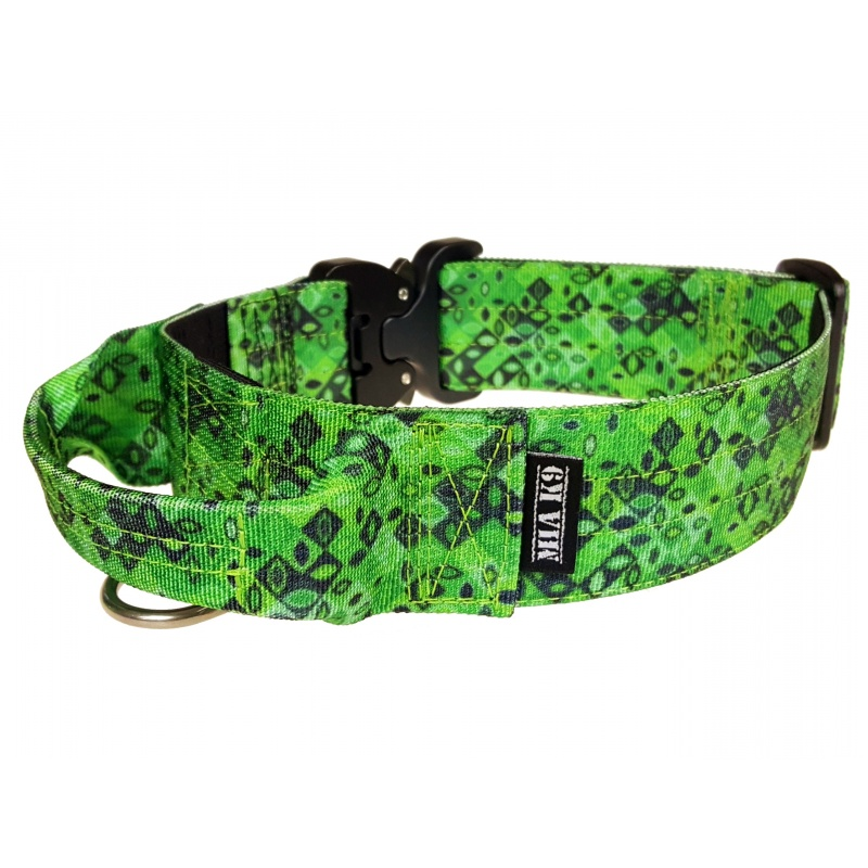 Tactical Dog Collar, Jade Mosaic, 40mm/1.5inch wide, Cobra buckle