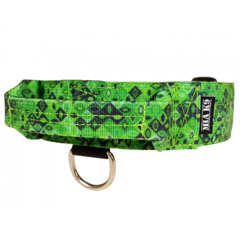 Tactical Dog Collar, Jade Mosaic, 40mm/1.5inch wide, plastic ITW NEXUS buckle