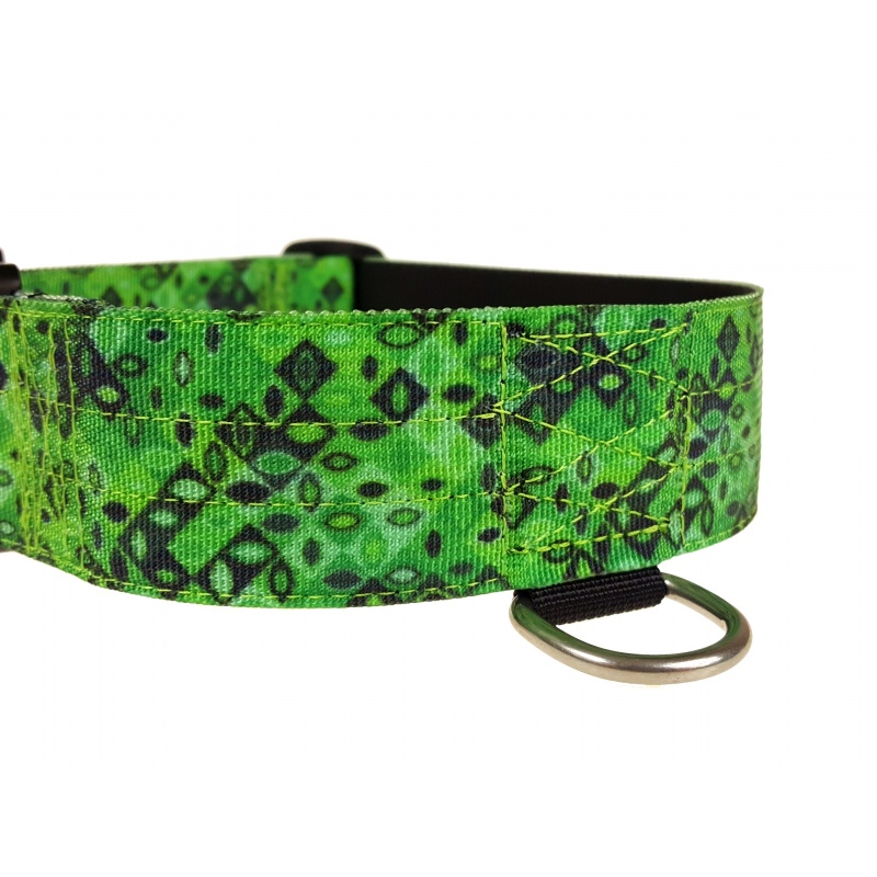 Tactical Dog Collar, Jade Mosaic, 50mm/2inch wide, plastic ITW NEXUS buckle