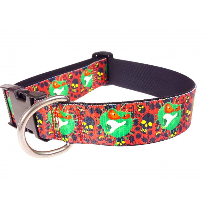Virus and Skull Flat Collar 38 mm/ 1.5 inch wide