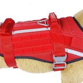 Safety first! Scout, the SAR dog is getting his new work harness: Breathable mesh padding allows for better air circulation and helps dissipate excess body heat on hot days☀️ Bright red colour with added reflective elements will keep him visible form afar and in low light Heavily overbuilt with silver load bearing hardware for extra safety💪 And of course extra room for patches. Took us a while to get our hands on red mesh spacer these days but luckily for us, Scout's trainer is very patient😅Thank you Lauren! #miak9 #sar #dogvest #doggear #searchandrescue #workingdog #cobrabuckle #servicedog